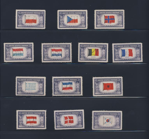 thirteen stamps of the overrun countries series